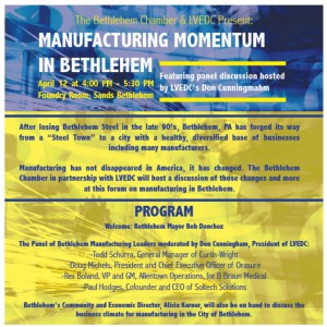 "Click the image above to see a full-sized copy of the flier for the ""Manufacturing Momentum in Bethlehem"" event."