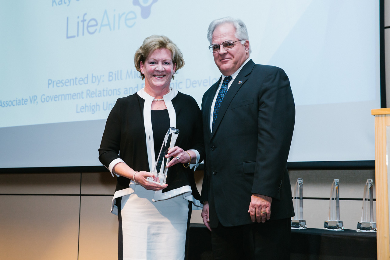 Katy Worrilow of LifeAire Systems accepting the LVEDC Entrepreneur of the Year Award in 2015.