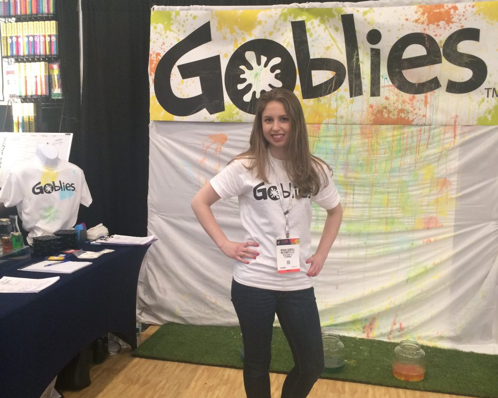 Briana Gardell, founder of Mezzimatic, displaying Goblies at the Toy Fair 2016 in New York City.