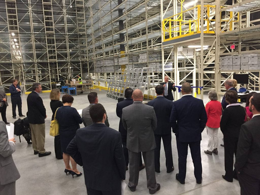 LVEDC President & CEO Don Cunningham speaking at the Iron ribbon-cutting ceremony for Mountain Incorporated's new 182,000 square-foot records management facility in Palmer Township.