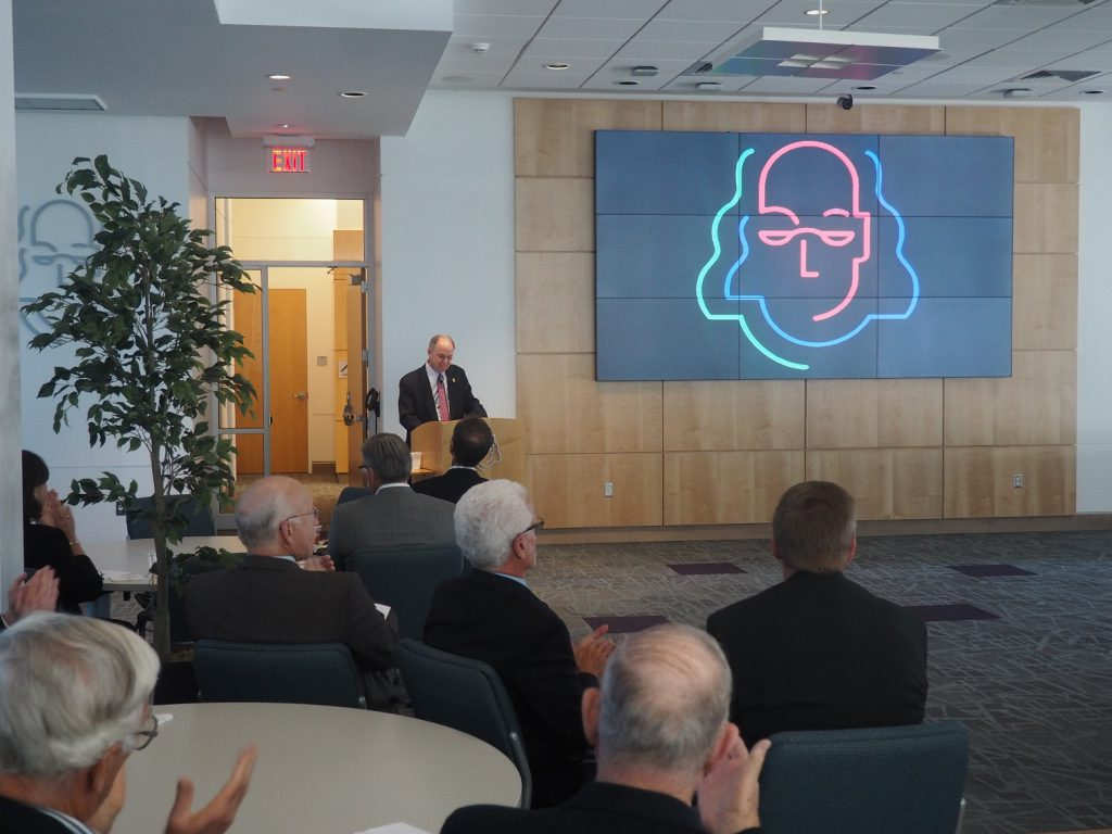 R. Chadwick Paul, Jr., President and CEO of Ben Franklin Technology Partners of Northeastern Pennsylvania, announcing the opening of the new Ben Franklin TechVentures West Wing.