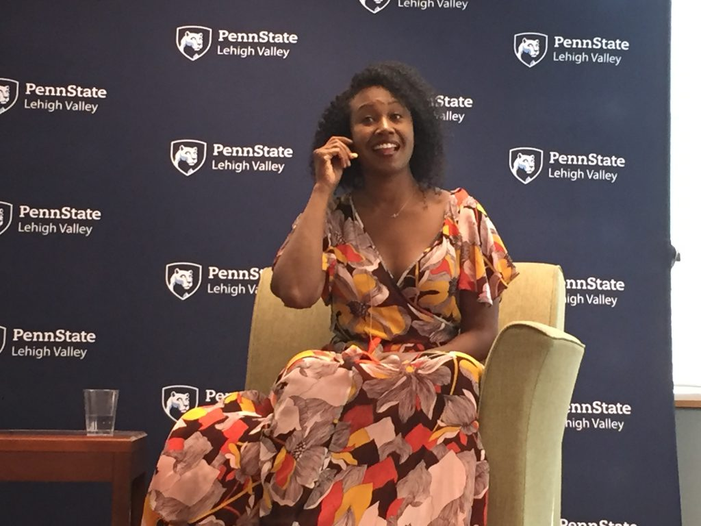 """Tanya Wright, an actress known for her roles on Orange is the New Black and True Blood, spoke at the inaugural """"LaunchBox Ladies: From Passion to Profit"""" event at Penn State Lehigh Valley."""