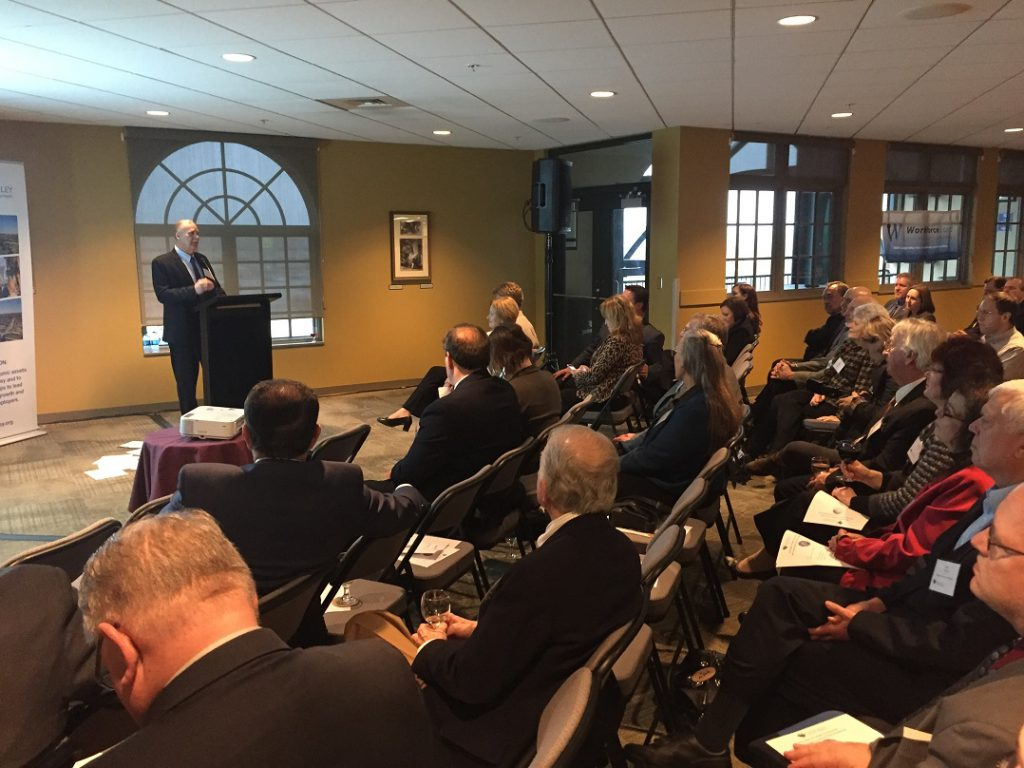 Lehigh County Executive Phillips Armstrong delivers his first State of the County address at Coca-Cola Park in Allentown.