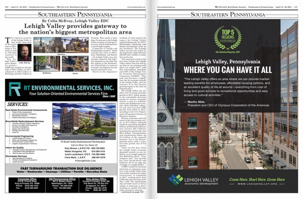 A story about the Lehigh Valley economy was featured in the April 13 issue of the Mid Atlantic Real Estate Journal.