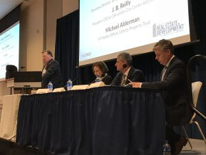 Panelists (left to right) Joseph Fitzpatrick Jr., Becky Bradley, J.B. Reilly, and Michael Alderman speaking at the 2018 Lehigh Valley Real Estate & Development Symposium.
