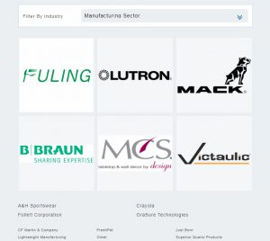 A screenshot of the investors section of the LVEDC website, which organizes investors by industry sector.