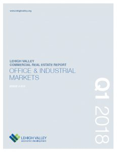 The cover of the Q1 2018 Lehigh Valley Commercial Real Estate Report.