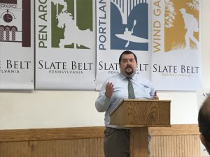 Andrew Kleiner, LVEDC Director of Redevelopment and External Affairs, speaking at The Slate Belt Rising event