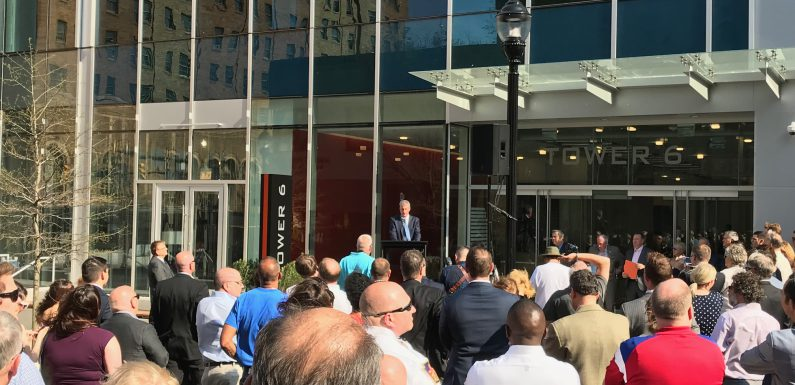 City Center Lehigh Valley President J.B. Reilly speaking at the grand opening and ribbon-cutting ceremony at Tower 6 in Allentown on May 3, 2018.