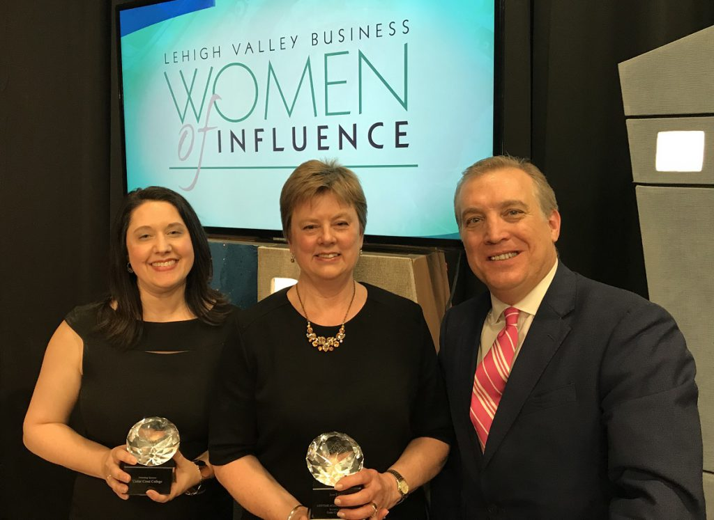 LVB Women of Influence honorees Jaime Whalen (left) and Jane Long (center) stand with LVEDC President & CEO Don Cunningham.
