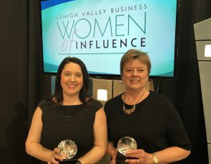LVEDC Vice President of Administration and Investor Relations Jaime Whalen (left) and LVEDC Board of Directors Chair Jane Long were both recognized by the 2018 Lehigh Valley Women of Influence Awards.