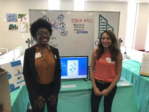 Lehigh students Brennetta Thames and Emma Hillman (respectively) presenting their project CitiSense at the Hatchery Demo Day.