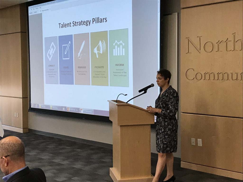 LVEDC Director of Talent Supply Karianne Gelinas addressing the Education and Talent Supply Council in September 2018.