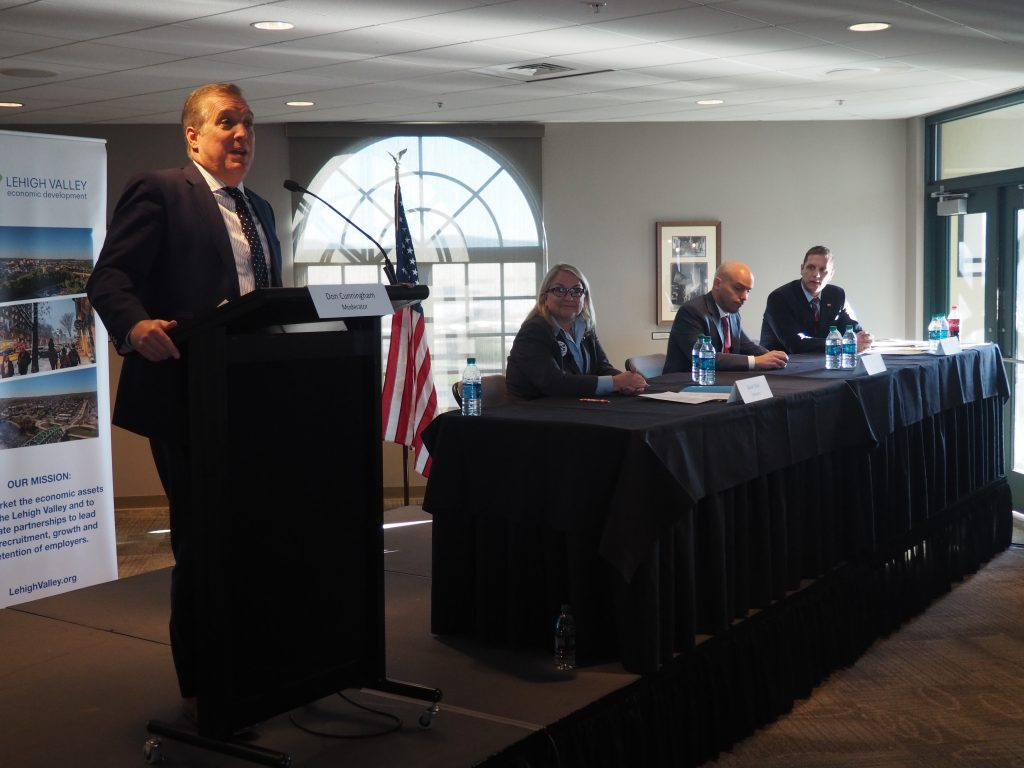 LVEDC President & CEO Don Cunningham hosts a congressional forum featuring candidates (left to right) Susan Wild (Democrat), Tim Silfies (Libertarian), and Marty Nothstein (Republican).