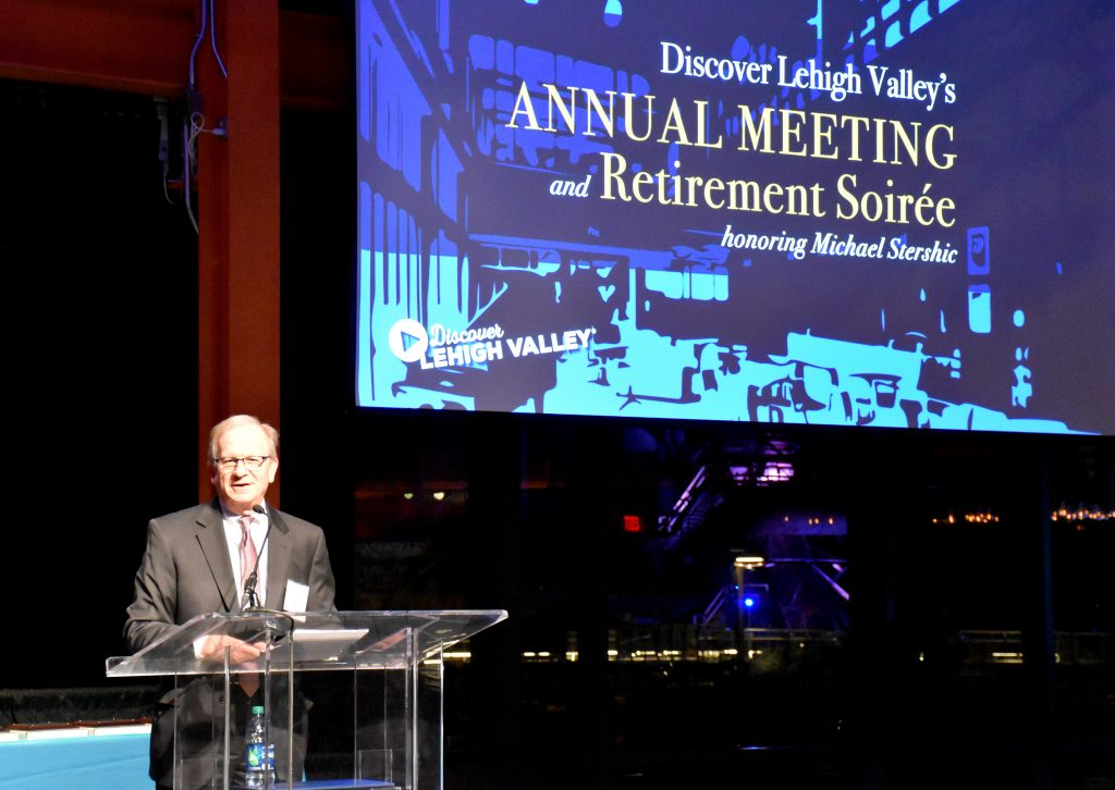 Michael Stershic was honored for his 14-year run as President of Discover Lehigh Valley.