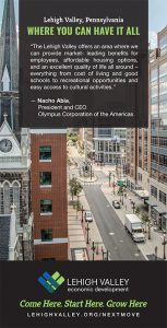 The Lehigh Valley advertisement featured in the print edition of the Wall Street Journal.
