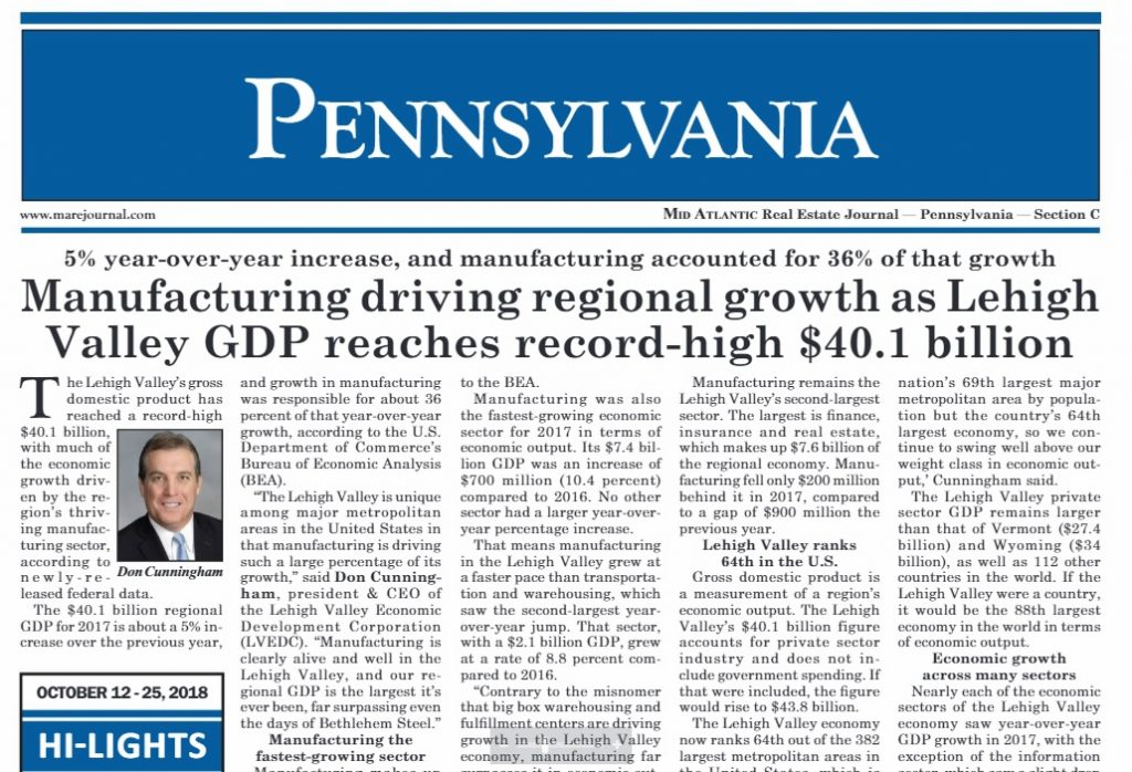 The Lehigh Valley's $40.1 billion GDP was highlighted in an October issue of the Mid Atlantic Real Estate Journal.