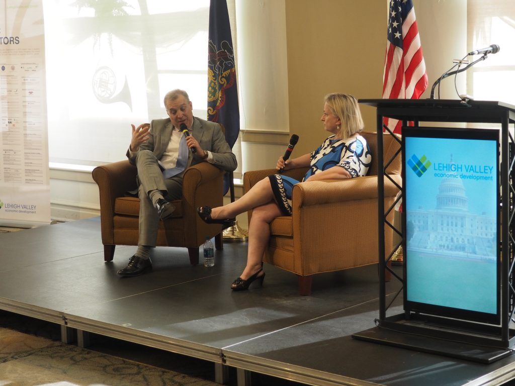 LVEDC President & CEO Don Cunningham speaking to U.S. Rep. Susan Wild at the Legislative Update event.