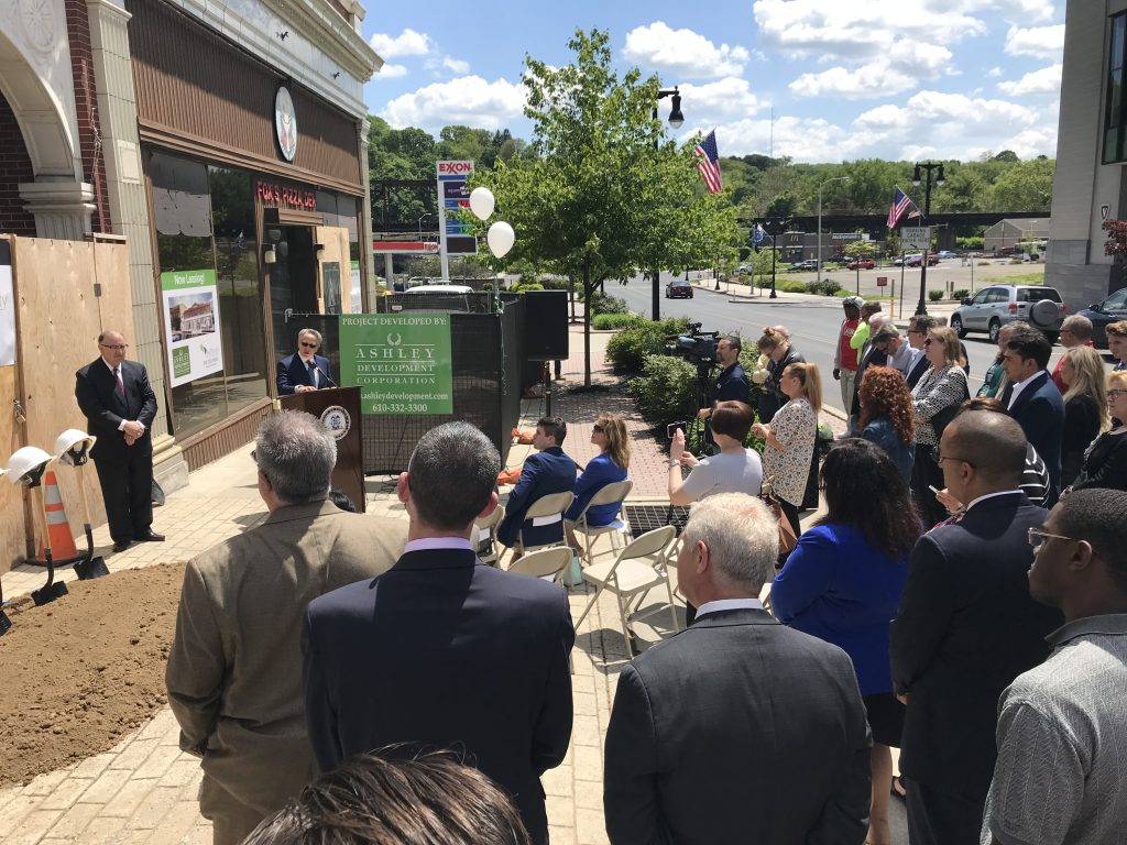 Louis Pektor, managing member of Heritage Riverview, speaking at the groundbreaking ceremony at the former Heritage Lanes building in Easton.