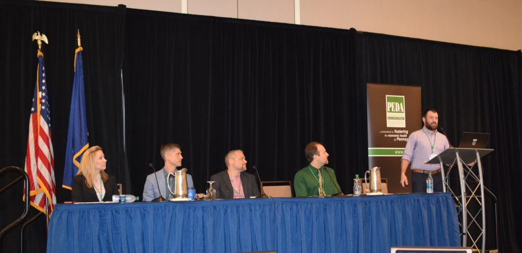 LVEDC Director of Communications Colin McEvoy (second from right) was among the panelists at the 2019 Pennsylvania Economic Development Association (PEDA) Spring Conference in Harrisburg.
